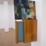 """Directing Awareness I: squares"", wood shelf and acrylic paint, 110 x 50 cm, 2009"