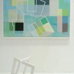 """Habitat I"", akryl på treplate/bemalt objekt i tre, format maleri: 80 x 122 cm, 2012"