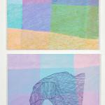 """kart over mors fang"" , akryl på lerret, 2 á 80 x 80 cm"