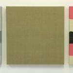 """""""vev uvevd"""" 3 stk á 50 x 50 cm, akryl på lerret og tekstil trukket på blindramme, 2013"""