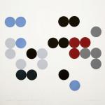 """""""rekonstruksjon I: Ny orden"""", (etter et maleri av Sophie Tauber-Arp 1934), tresnitt/woodcut, 63 x 49 cm, 2007, opplag/edition: 10"""