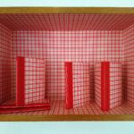 """""""Kjøkkendagbøkene"""", 2017, vegginstallasjon (hylle inneholder bøker med egne tekster og bilder)"""