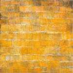 tittel: Gul Frekvens, 50 x 50 cm, akryl/klister på lerret, 2018
