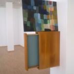 """Directing Awareness I: squares"", wood shelf and acrylic paint, 110 x 50 cm, 2009"