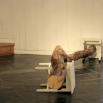 """""""Theories on Wooden Behaviour"""", tree trunk with painted stools, length 220 cm, 2008-10"""