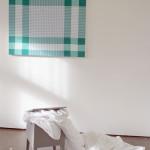 """""""those passing days"""", installasjon bestående av maleriet """"by your table"""" (I) og funne objekter (kommode og tekstil)"""